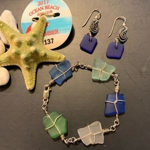 Sea Glass Bracelet and Earrings